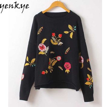 Autumn Vintage Women Floral Embroidery Pullover Sweater Long Sleeve O Neck Black Christmas Sweaters Jumper