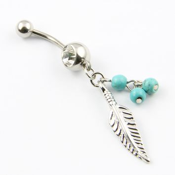 316L Surgical Steel 14 Guage Leaf Dangle With Blue Beads Navel Belly Button Ring Bar:Amazon:Jewelry