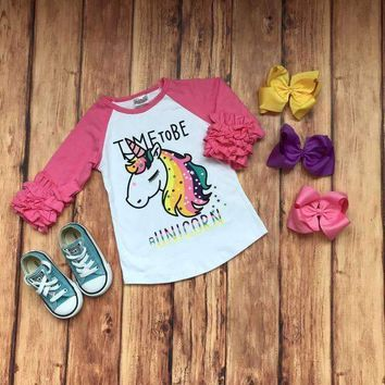 "RTS Girls ""Time To Be A Unicorn"" Ruffle Raglan!! D10"
