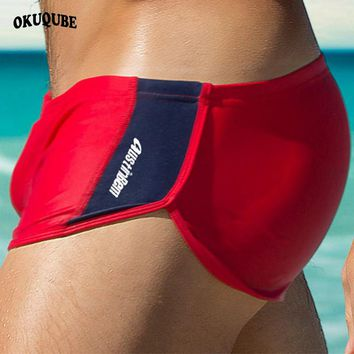0f448088d1 OKUQUBE 2018 New Nylon Swimming Trunks Fit Boxer Swimwear Low Waist Swimsuit  Elastic Surfing Briefs Breathable