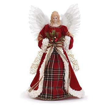 Red Plaid Holly Berry 16 Inch Angel Figurine Christmas Tree Topper