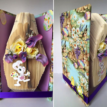 Folded Book Art Easter Book Easter Bunny Gift Book Sculpture Spring