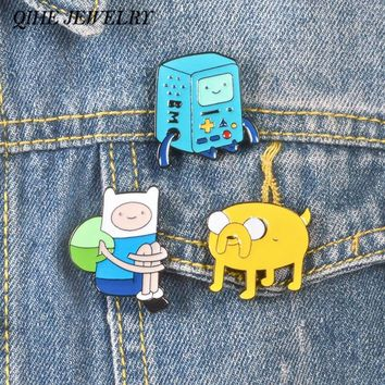 QIHE JEWELRY 3pcs/set Adventure Time with Finn and Jake Catoon pins and brooches Finn Jake BMO Badges Lapel pins Enamel pins