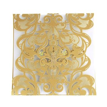 "Paper Square Laser-Cut Pearlescent Scroll Swirl ""Our Wedding"" Invitations, Gold, 5-3/4-Inch, 8 count"