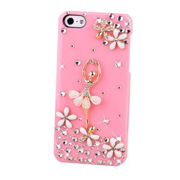 Bling Crystal Diamond Chip Cover Case Skin For Apple Iphone 5 5s (ballet Pink)