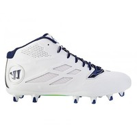 Warrior Burn Speed 8.0 Mid Cleat - White/Blue | Lacrosse Unlimited