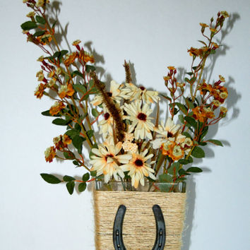 Horseshoe Vase Rustic Decor Western Theme Log Cabin Decor Candle Holder Horse Theme Western Wedding Decor