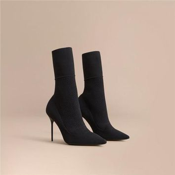 High Heel Ankle Sock Boot