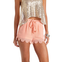 BELTED SCALLOPED CHIFFON SHORTS