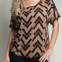 Khaki & Black Chevron printed blouse from Monica's Closet Essentials