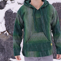 Mexican Threads Baja Hoodie Drug Rug Jerga Pullover Sweatshirt / Hippie Baja Jacket Poncho GREEN