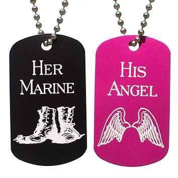 His Angel & Her Marine Dog Tag Necklaces