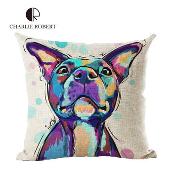 Colorful Painting Dog Printed Cushions Cover French Bulldog Throw Pilow Case For Sofa&car Decor Funda Cojines Coussin HH2156