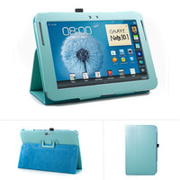 Samsung Galaxy Note 10.1 Inch N8000 Tablet Turquoise Blue PU Leather Slim Folio Perfect fit Stand Case Holder
