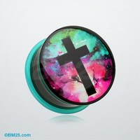 Galaxy Cross Single Flared Ear Gauge Plug