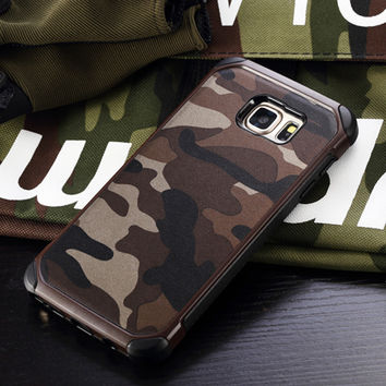 Military Camo Hard Shockproof Case For Samsung Galaxy S7 S6 Edge Plus Camouflage Cover For Samsung Note 4 5 A3 A5 A7 J5 J7 2016