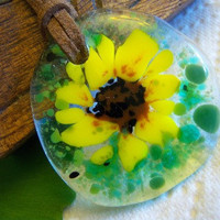Sunflower Necklace Sunny yellow brown green blue by KarmaBeads