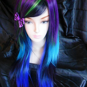 ON SALE Peacock / Purple, Green, Navy, Teal and Royal Blue / Long Straight Layered Wig