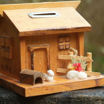 Rustic Wood Miniature Farm House, Piggy Bank, Hobbit House, Handmade Wood House, Vintage