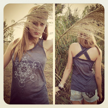 METATRON'S CUBE Sacred Geometry Sheer Cross Back by GrizzyLove