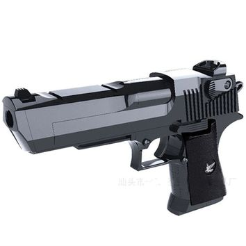 DIY Building Blocks Toy Gun Desert Eagle Assembly Outdoor Fun Toy Can fire bullets with Instruction Book Gift for Children