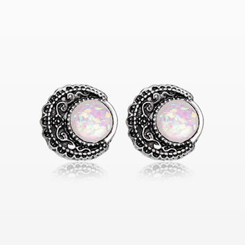 A Pair of Vintage Boho Filigree Opal Moon Stud Earrings