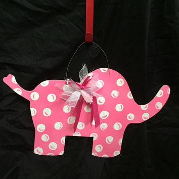 Elephant door hanger -  Personalized baby gifts -  Baby Door Sign - Pink nursery - Girl's nursery - Shower gift - ©Jack Jack Wayart