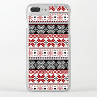 Winter Fair Isle Pattern Clear iPhone Case by Tanyadraws