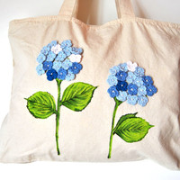 Hydrangea Tote bag canvas, tote bag with zipper, Tote bag personalized, crochet flowers and bead tote bag, eco bag reusable, beach bag