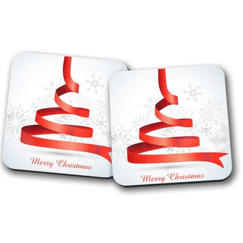 Merry Christmas Red and White Decoration Pair of Coasters, Home Decor, Kitchen Sets, Table Designs, 2 Coasters