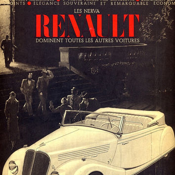 Renault vintage advertising retro poster 1936, French magazine cover, illustration print, car poster, Renault cabriolet