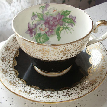 Vintage Aynsley tea cup set, black and gold fleur de lis tea cup and saucer English tea set, bone china tea cup, antique tea cup set violets