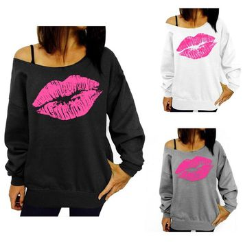 Off The Shoulder Sexy Lips Sweatshirt
