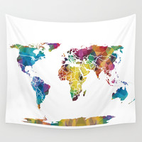 Geometric World Map Wall Tapestry by Catherine Holcombe