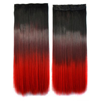 5 Cards Hair Extension 3 Colors Gradient Ramp Wig black wine red bright red