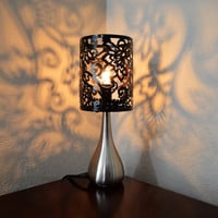 Small Table Lamp with Black Metal Lace Shade
