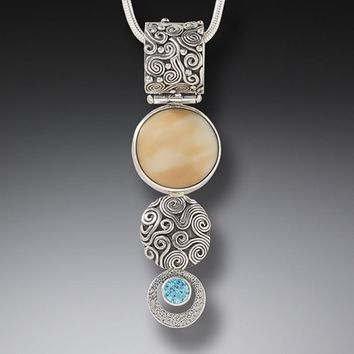 """Sun and Rain"" Ancient Fossilized Mammoth Tusk and Blue Topaz Sterling Silver Pendant"