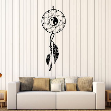 Vinyl Wall Decal Dream Catcher Bedroom Yin Yang Feathers Stickers Unique Gift (400ig)