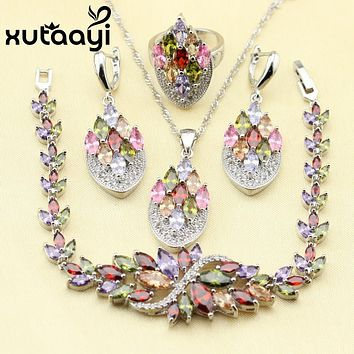 4PCS 925 Sterling Silver Jewelry Set Flower Colorful Multicolor Stones Earrings Ring Necklace Pendant Bracelet