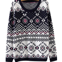 Navy Blue Geometric Patterns Print Knit Sweater