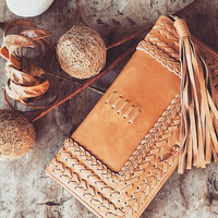 TALISMAN. Tan leather clutch / womens leather wallet / leather clutch purse / womens wallet / travel. Available in different leather color.