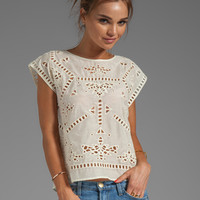 Greylin Bianca Embroidered Top in Ivory