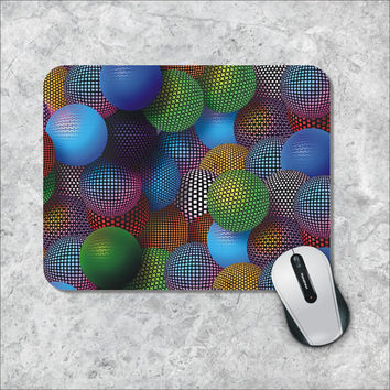 Geometric Mousepad, Colorfull Spheres Mouse Pad, Custom Mousepad, 3D effect Mouse Mat, Personalized Computer Accessories, Custom Mouse Pad