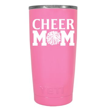 YETI 20 oz Cheer Mom Pom Pom on Pretty Pink Tumbler