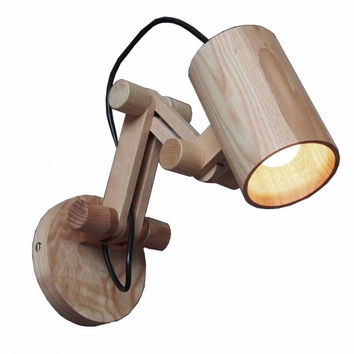 Creative gift retro industrial wood catapult wall lamp light wall sconce
