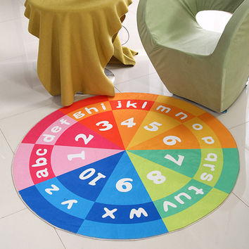 Round Carpets Kids Living Room Parlor Doormat Cartoon Floor Rugs Baby Climbing Game Blanket Play Mats