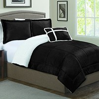 Geneva Home Fashion 4-Piece Micro Sherpa Comforter Set, Queen, Black