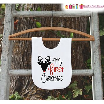Reindeer Bib for Baby - Red Nosed Rudolph - Christmas Bib - First Christmas Dinner Bib - Winter Holiday Bib - Christmas Gift For Baby