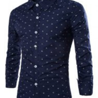 Turn-down Collar Anchor Print Long Sleeves Shirt