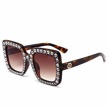GUCCI Trending Women Men Stylish Diamond Frame Summer Style Sun Shades Eyeglasses Glasses Sunglasses #14 I-8090-YJ